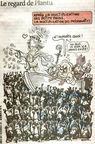 Cristo che fa il miracolo della «moltiplicazione dei preservativi», dietro Benedetto XVI che commenta: «Buffonate!» e infine monsignor Williamson che commenta con: «...e poi l'Aids non è mai esistito»